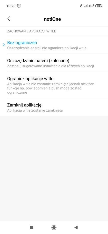 Android ustawienia aplikacji notiOne