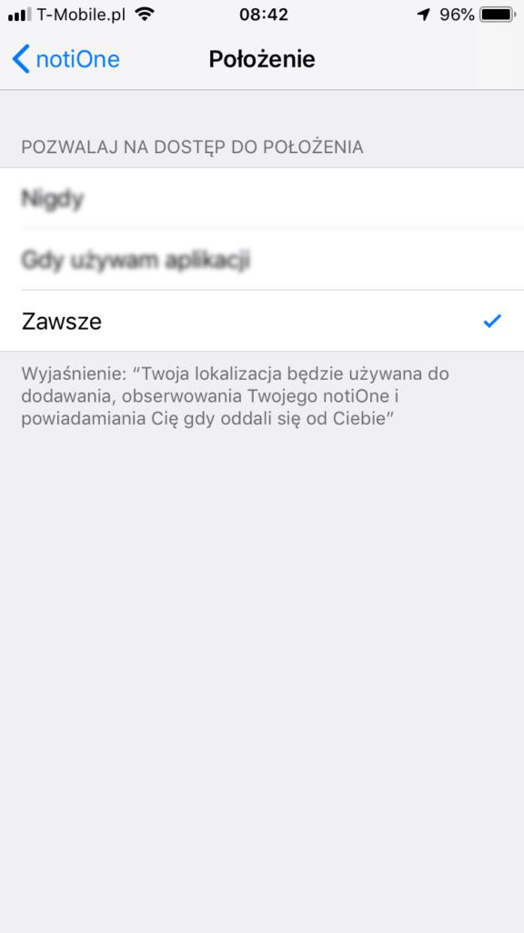 notiOne - ustawienia iOS